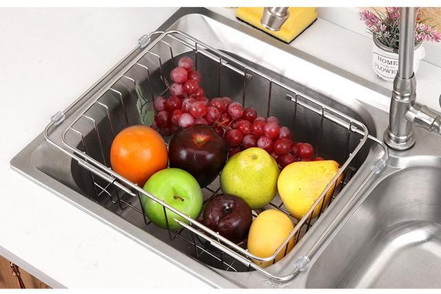 304不銹鋼廚房水槽置物架 瀝水籃 伸縮果蔬碗碟收納籃