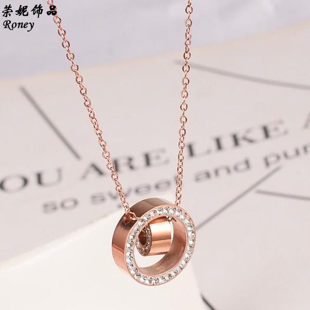 韓國簡約雙圓圈鎖骨項鍊-鈦鋼