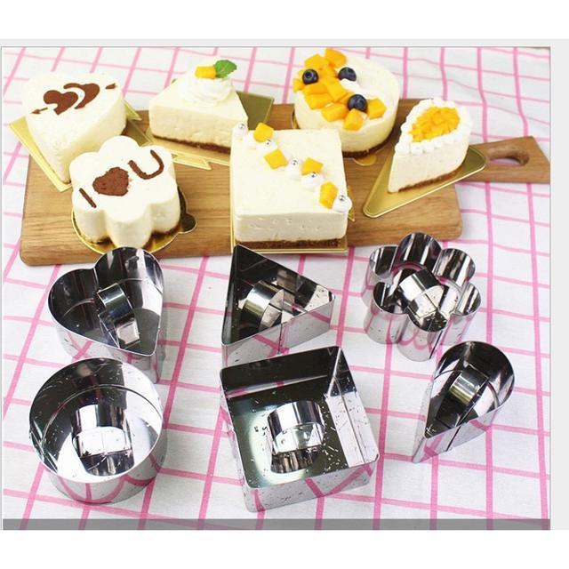 3吋不銹鋼小慕斯圈 起司蛋糕模具 方形 心形  帶壓板 提拉米蘇  慕斯圈 飯團模具 DIY模具