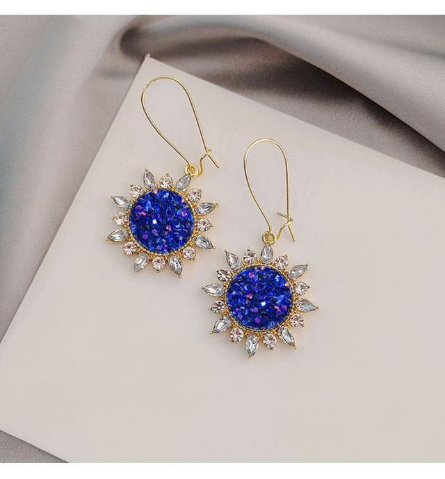 預購#超仙藍色花朵耳圈韓國2021年新款潮高級感耳環女百搭網紅耳釘