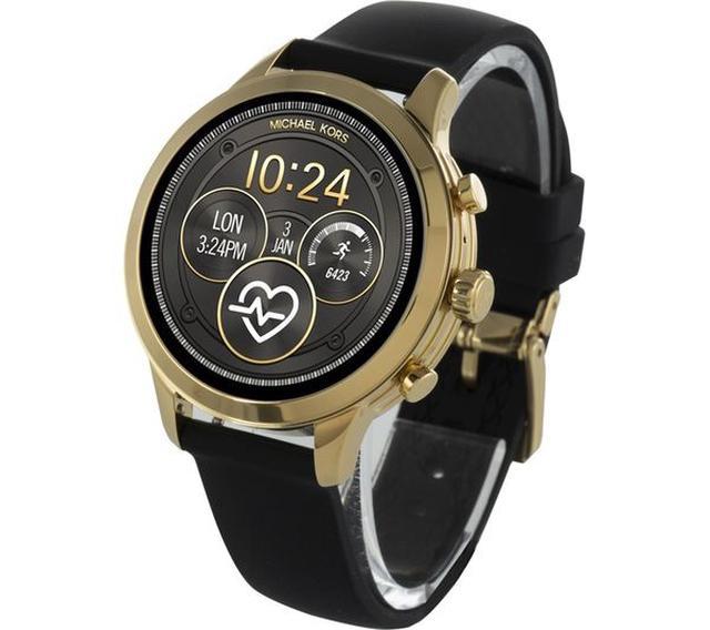 Michael Kors Access Runway語音智能追蹤手錶-黑色橡膠帶