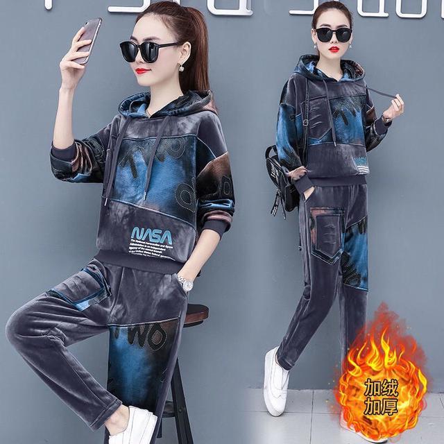 金絲絨套裝女冬2020新款韓版寬松休閒運動服加絨加厚衛衣兩件套潮