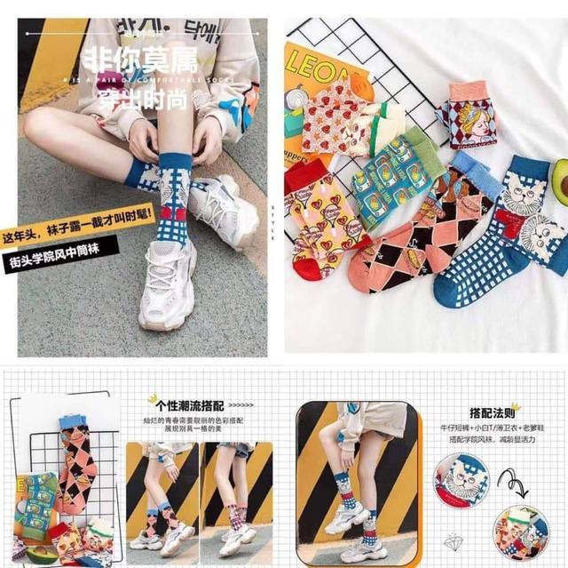 日系個性特色中筒女襪(6双一組)