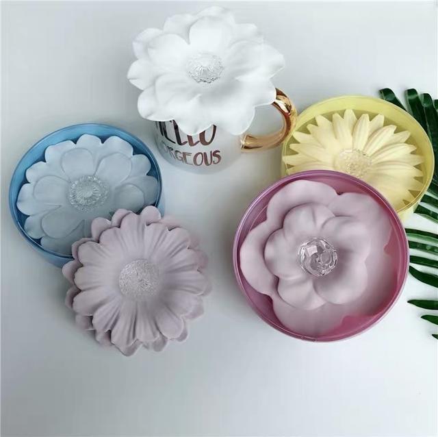 日本食品级矽膠花朵防塵杯蓋