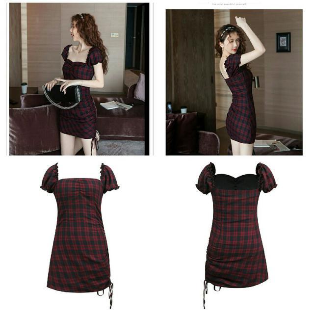 預購 紅黑格縮褶包臀連衣裙(單色)
