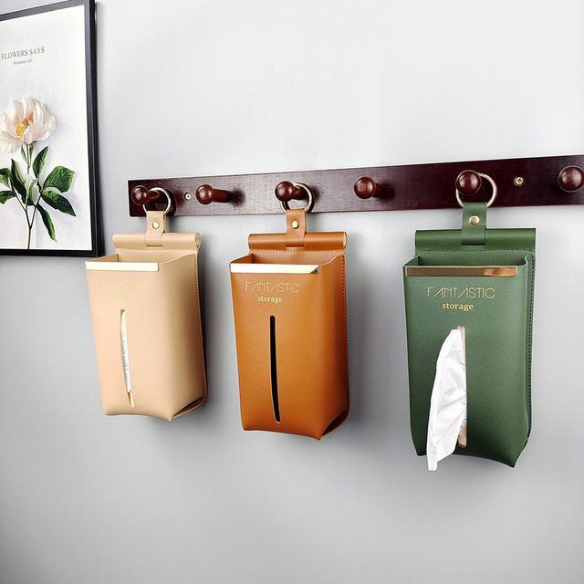 (L)預購 創意懸掛式皮革衛生紙收納盒