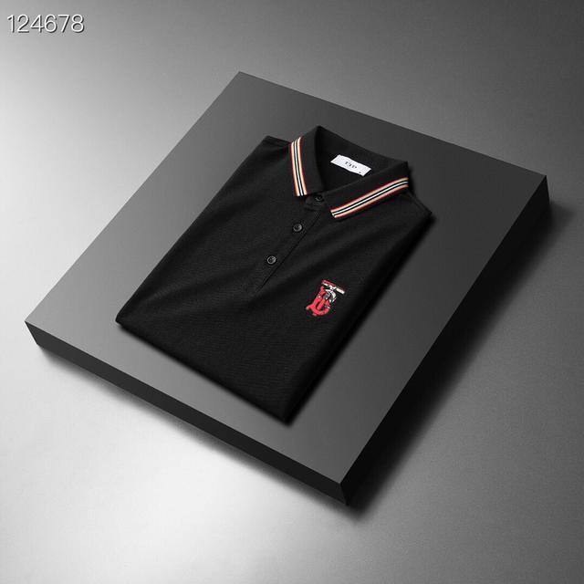 Burberr* 巴寶* 2021年夏季新款絲光棉短袖POLO衫