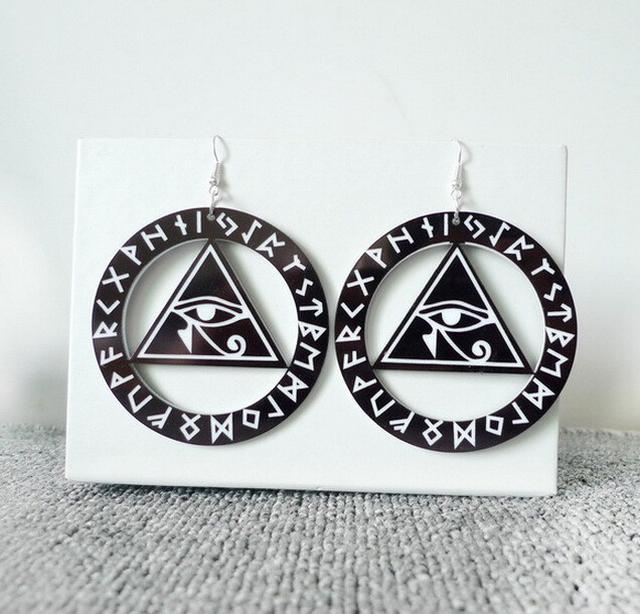 眼睛三角形耳環