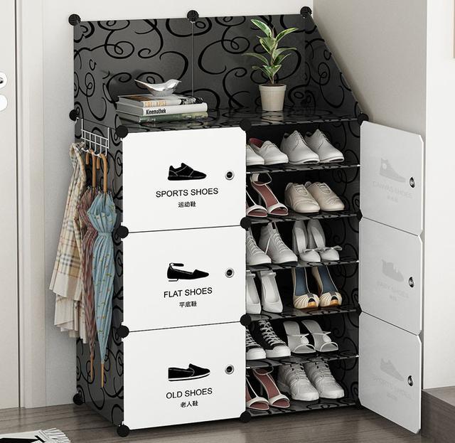 進門鞋櫃 12格防塵鞋櫃 收納架 玄關櫃 置物架 環保魔片植物架 鞋櫃鞋架