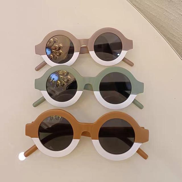 ins韓風兒童復古圓框併色太陽眼鏡