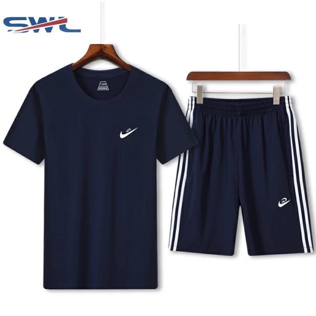 2019夏季新款男运动套装短袖T恤韩版潮流两件套休闲短裤运动衣服