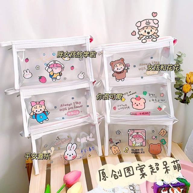 (預購s+) B039-可愛ins風少女心卡通透明化妝包