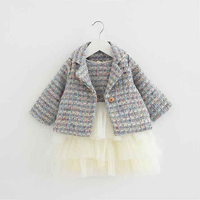 預購-女童洋氣格子套装2020春秋新款嬰兒女寶寶韓版長袖兩件套(I)