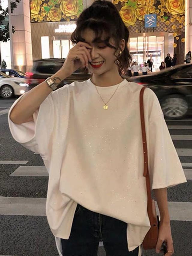 短袖T恤女夏宽松显瘦闪闪亮片遮肚上衣