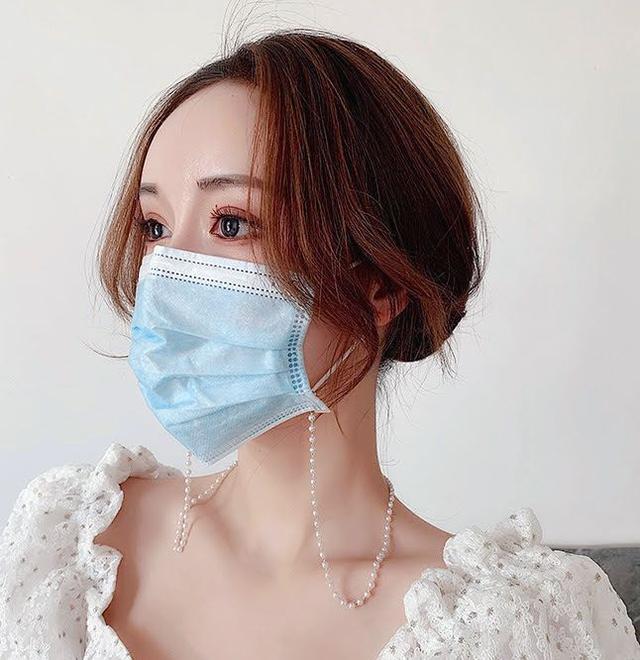 🌟現貨🌟正韓簡約復古珍珠水晶串珠口罩鏈