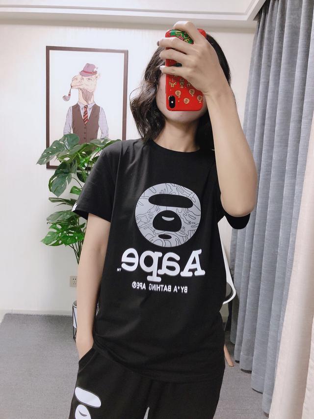 2020年春夏新款 Aape猿人頭 灰色圈圈圓領短袖T恤