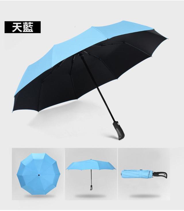 一鍵開傘全自動黑膠晴雨折疊傘~三人加大款
