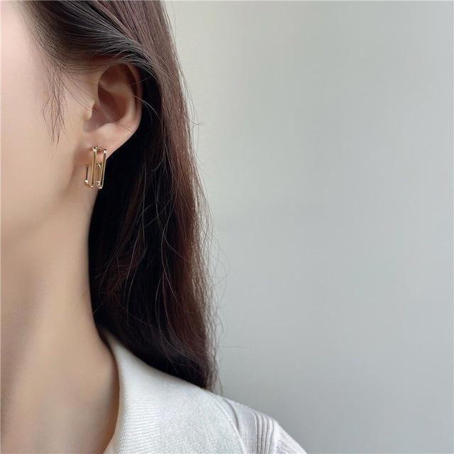 🌟現貨🌟正韓鏤空雙層幾何方形耳環