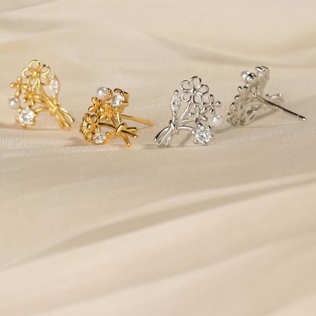 S925純銀法式浪漫耳環花束耳釘花朵耳環復古耳環小巧耳飾新款
