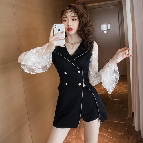 11 S-2XL 韓版 時髦蕾絲喇叭袖兩件套裝