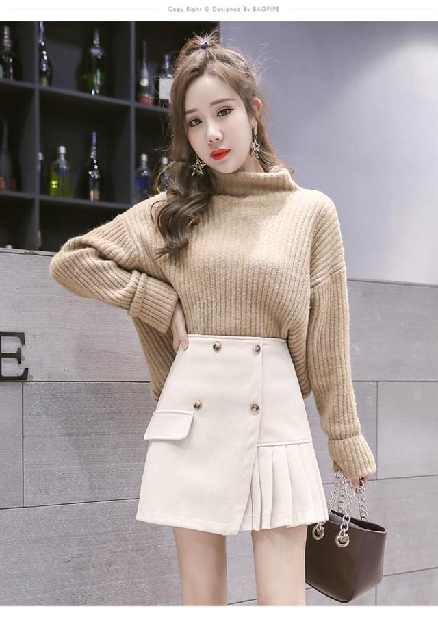 11 S-XL 秋冬高腰A字短裙雙排扣半身裙(三色