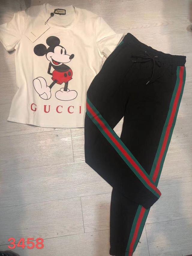 实拍2020夏新款G字母米齐短袖套头上衣+松紧腰长裤时尚休闲运动套装两件套