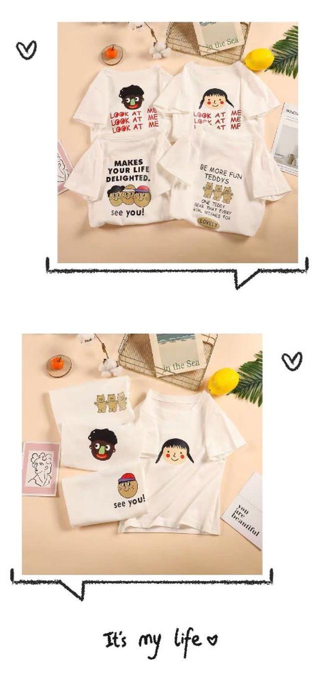 (預購)纯棉兒童短袖T恤2019新款男女童夏装寶寶上衣童裝小童卡通姐弟装3