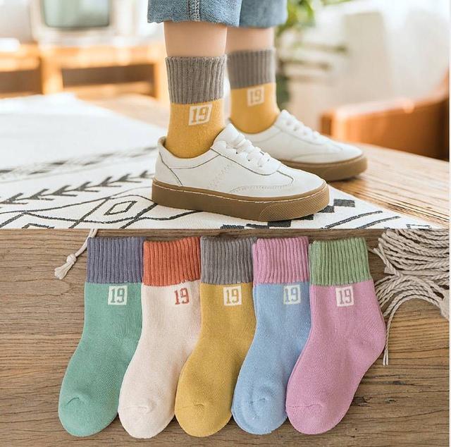 秋冬熱銷數字19加厚中筒童襪(5雙組)