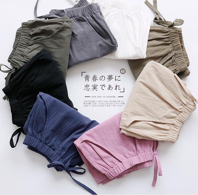 #預購 高腰寬鬆顯瘦棉麻休閒短褲