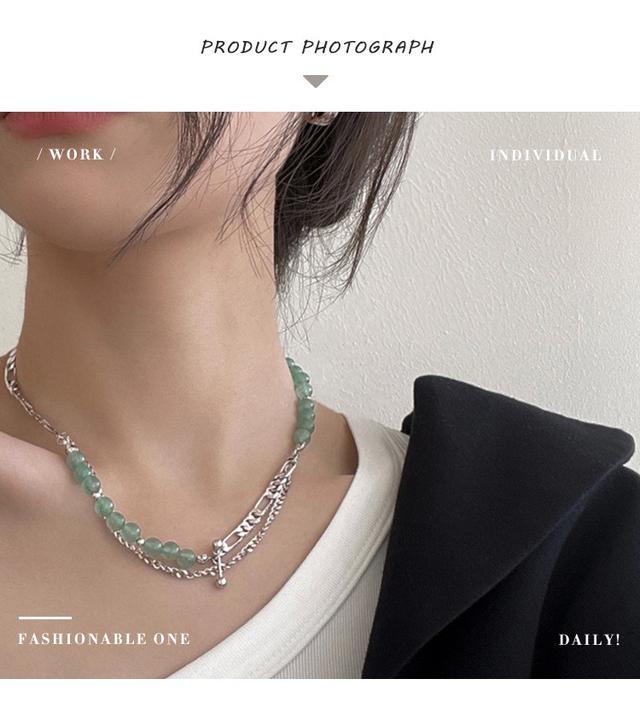 雙層疊戴925純銀項鍊女小眾設計感創意個性IG玉髓高級鎖骨鏈