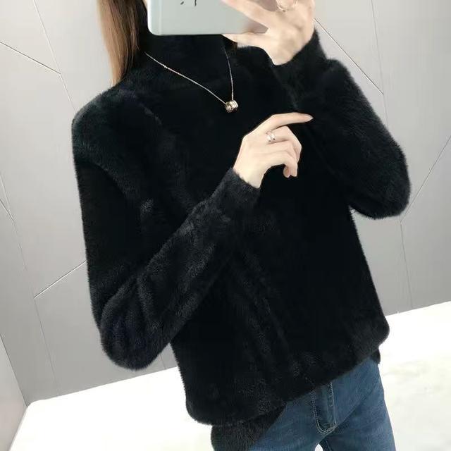 2020冬季韓版新款仿水貂絨半高領毛衣女寬松套頭加厚針織衫打底衫