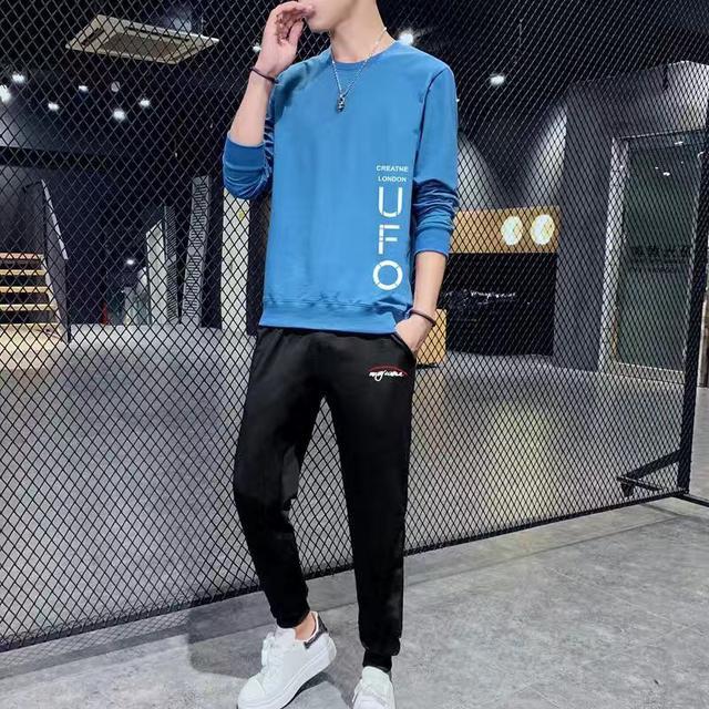 男士2020春季新款衛衣休閒衣服春秋款潮流運動服套裝大碼寬松