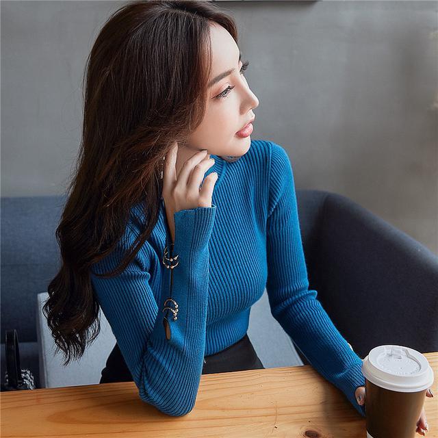 11 韓版修身純色袖口開叉針織衫(兩色)