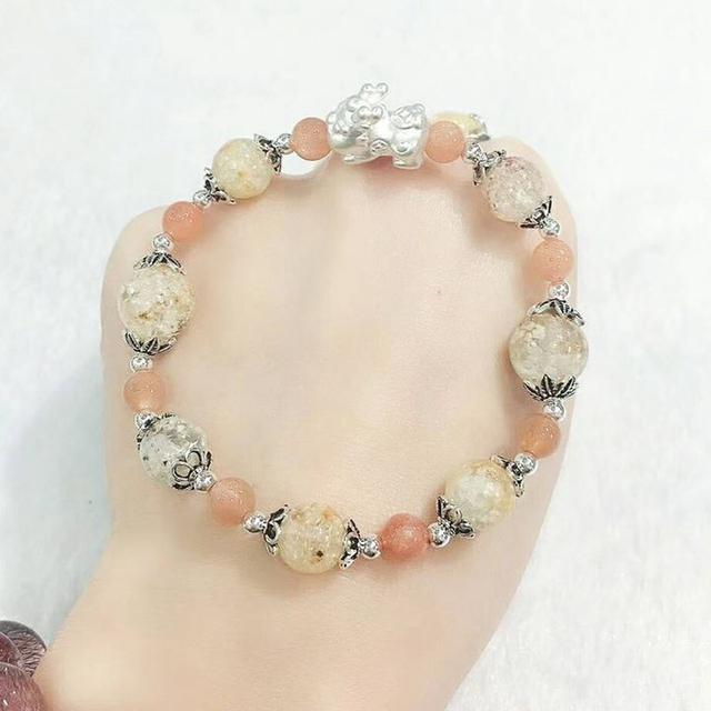 #能量晶石 雪髮晶太陽石貔貅寶寶925手鍊(S20126)#設計師款