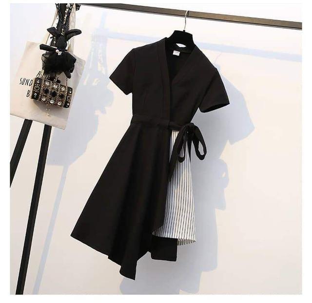 假2件開衫顯瘦連衣裙
