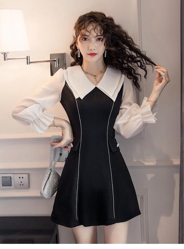 11 S-XL 韓版 時髦拼接撞色連衣裙