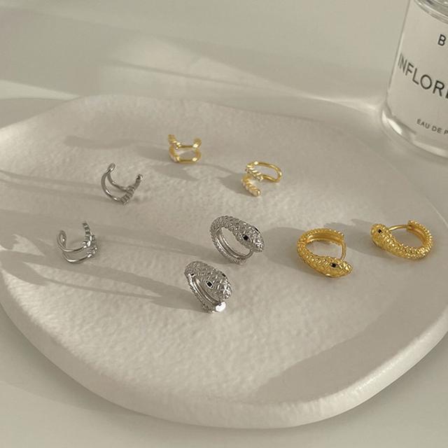 925純銀個性蛇形耳環氣質女韓國IG冷淡風耳夾無耳洞鋯石時尚飾品