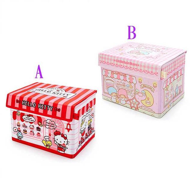 可折疊收納箱附蓋 Sanrio 凱蒂貓 雙子星 日本進口正版授權
