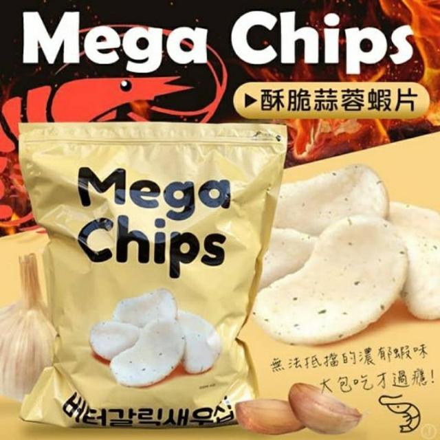 韓國Mega Chips巨無霸奶油大蒜蝦餅490g
