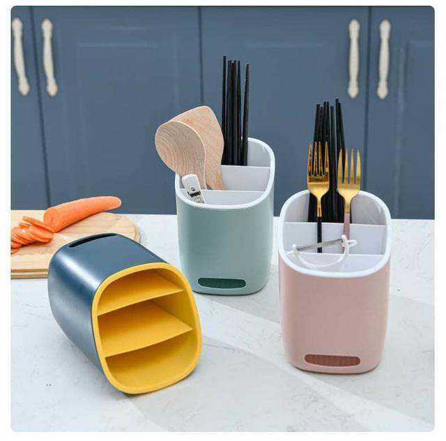 (預購S) G747 - 三格分類瀝水湯勺筷子收納盒