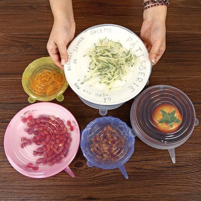 6件套 食品級矽膠保鮮蓋 可拉伸碗蓋 家居水果蔬菜保鮮膜