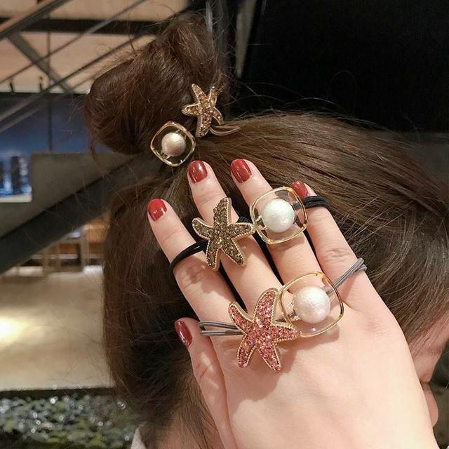 韓版甜美幾何水鑽海星髮圈