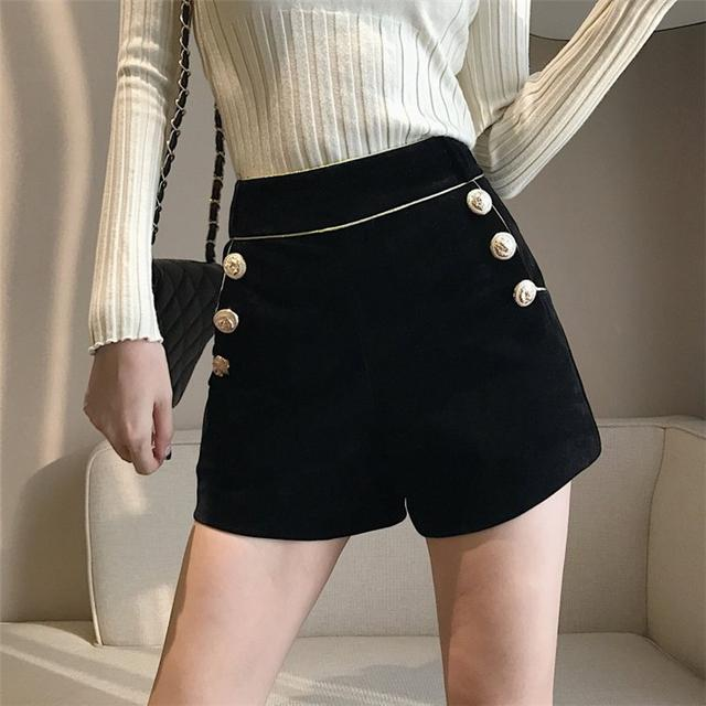11/19 S-XL 高腰雙排扣闊腿短褲