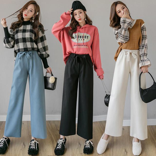 10月 S-XL 高腰垂感直筒韓版寬鬆休閒褲 三色