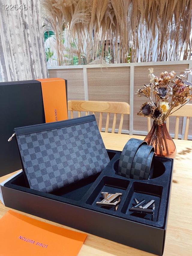 LV手包➕腰帶 新款真皮雙扣兩頭禮盒皮帶,送禮佳品
