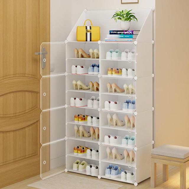 兩列透明側開門 透明門鞋櫃 經濟簡約防塵鞋櫃