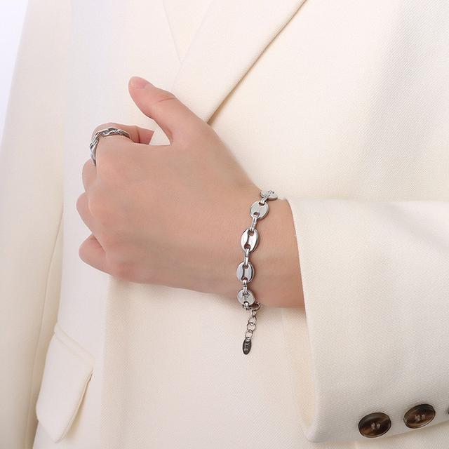 歐美風IG豬鼻子拼接鏈條套裝手鏈項鏈女鈦鋼手飾鎖骨鏈飾品套裝