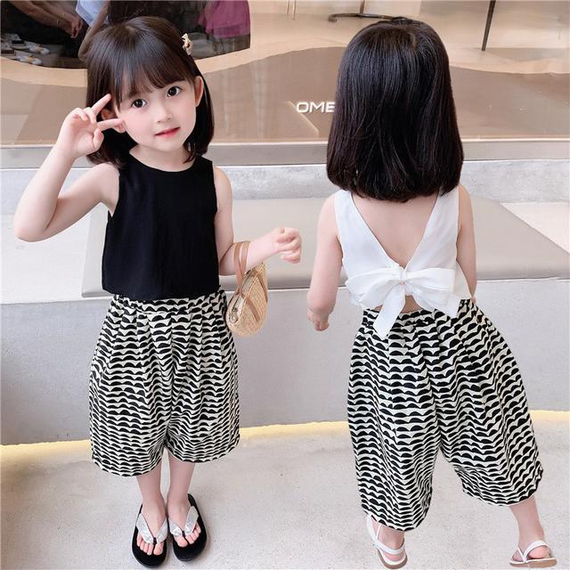 【DONGHWA.】yyt12132 女童新款韓版童裝甜美兒童露背蝴蝶結闊腿褲套裝潮