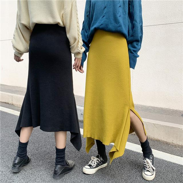 B 12/11 高腰不規則魚尾荷葉邊針織半身裙 (2色)