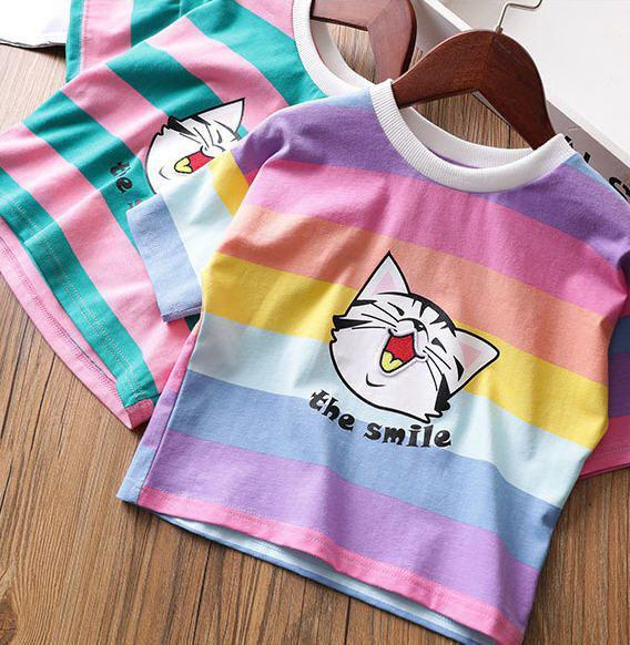 女童彩色條紋貓頭上衣
